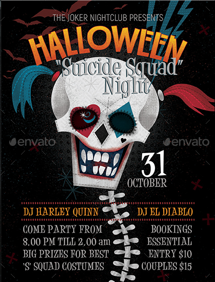 Suicide Squad Illustrated Halloween Flyer