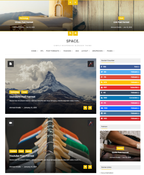 Space Blogger Responsive Personal Theme