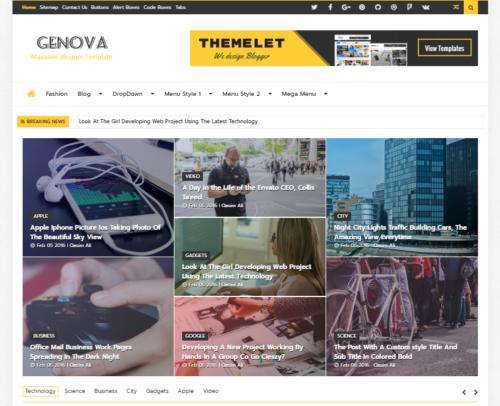 Genova Magazine Blogger Template