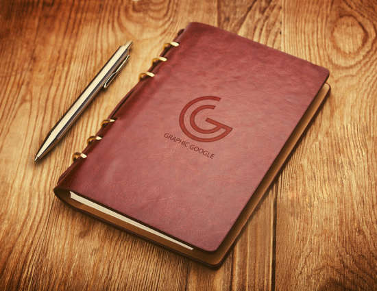 notebook_emboss_logo_mockup_psd