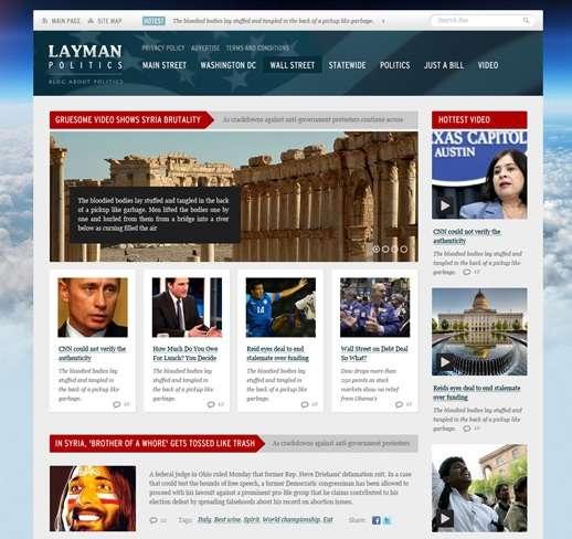 Download Free PSD Website Templates Ginva - News website design template