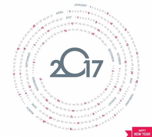 Circular calendar for 2017
