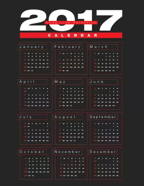 Free 2017 Wall Calendar in Ai, PDF, EPS & CDR Format