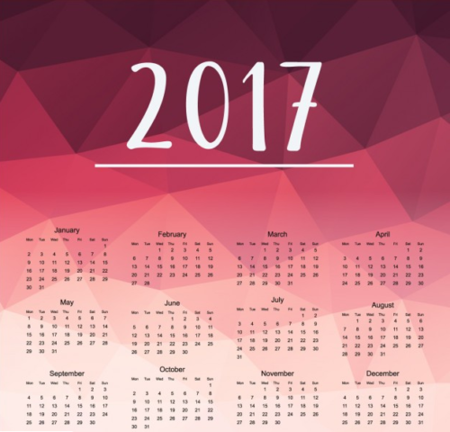 Red Polygonal Background Calendar