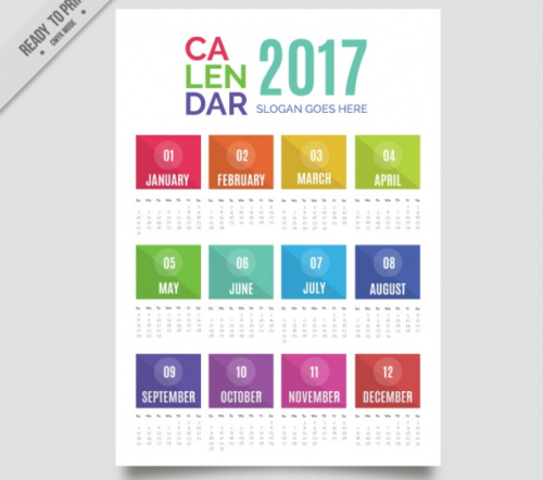 Colorful modern 2017 new year calendar