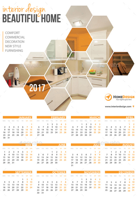 Hexagon Wall Calendar 2017