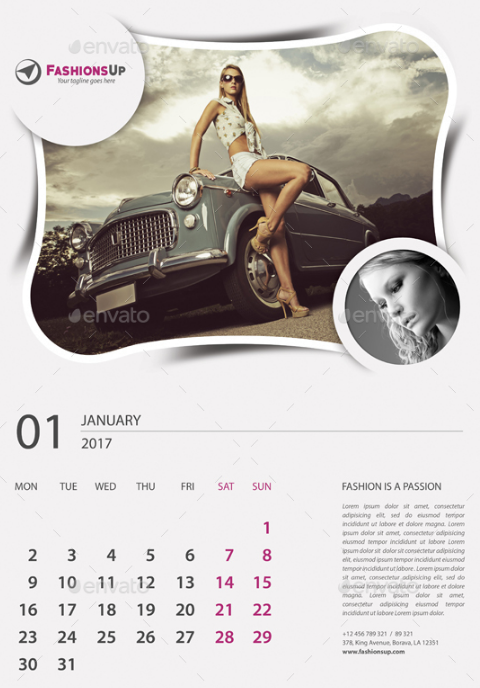 Fashion Wall Calendar Template