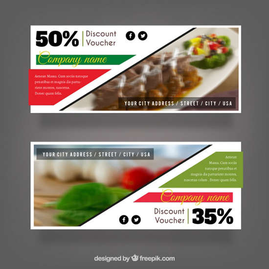 set_of_discount_vouchers_for_a_restaurant_free_vector