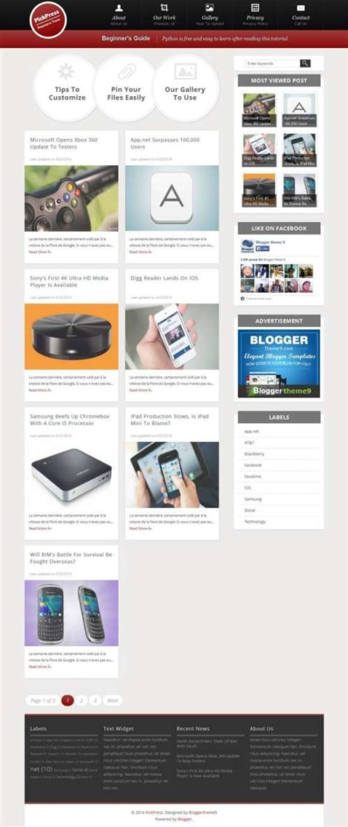 Pickpress responsive personal blog blogger template
