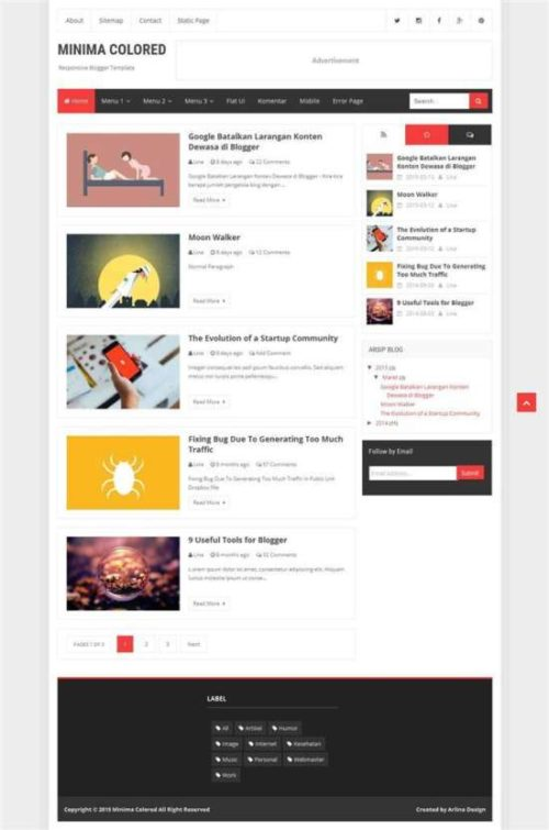 Minima colored responsive personal blog blogger template