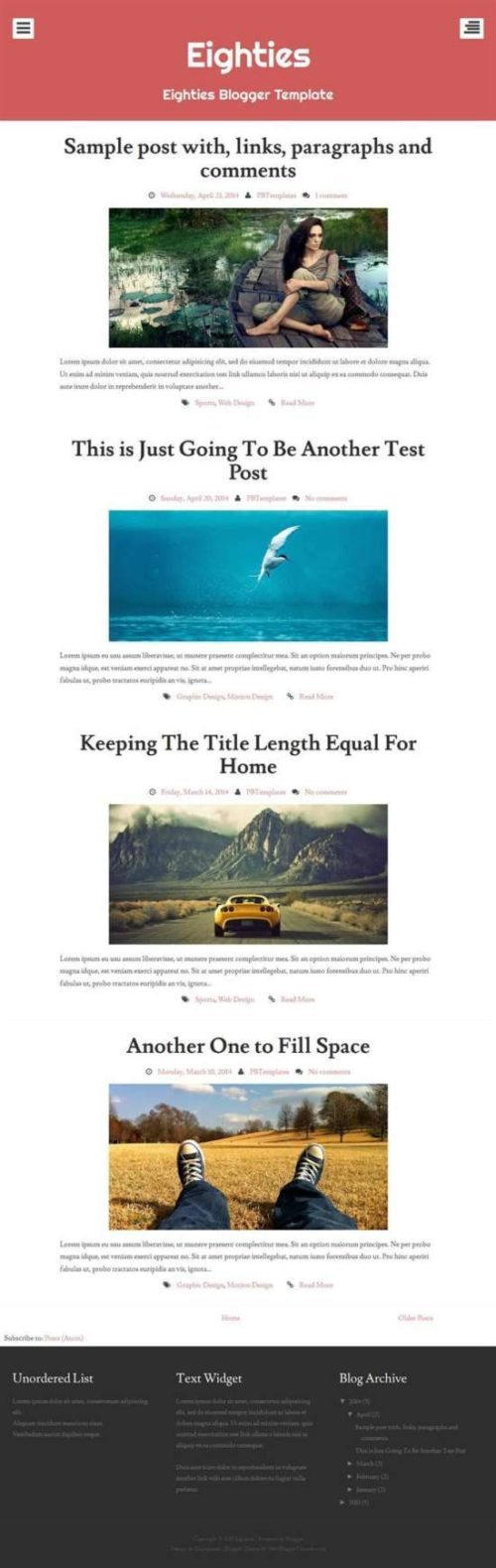 Eighties responsive personal blog blogger template