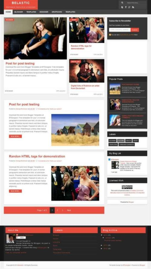 Belastic responsive personal blog blogger template