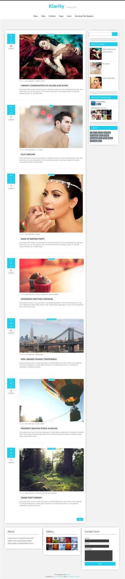 Klarity responsive personal blog blogger template