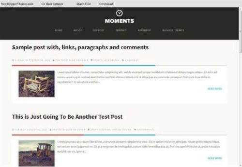Moments responsive personal blog blogger template