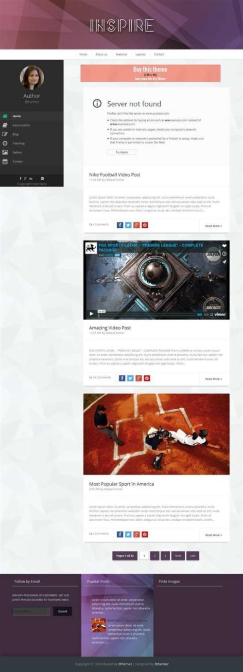 Inspire responsive personal blog blogger template
