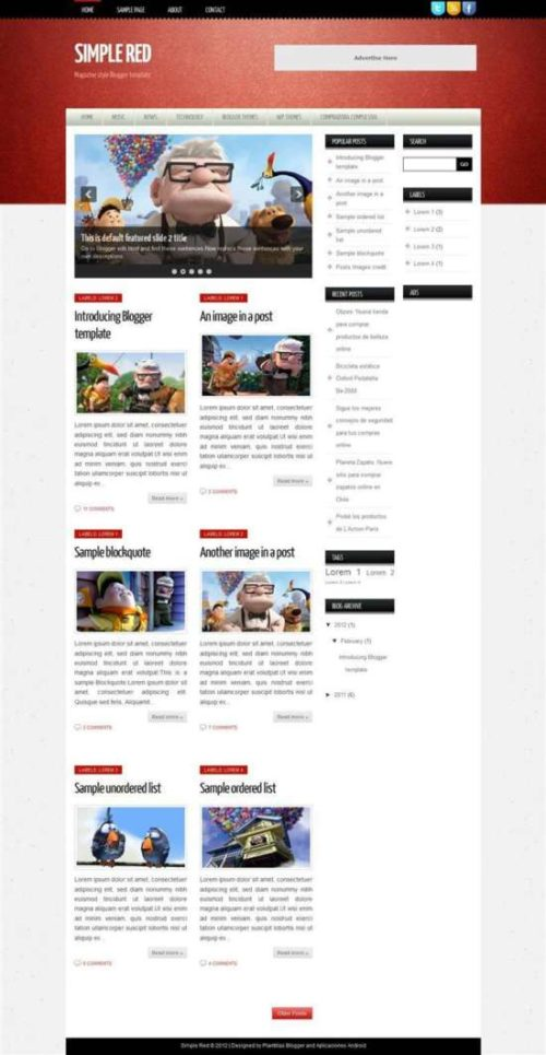 Simple red responsive personal blog blogger template