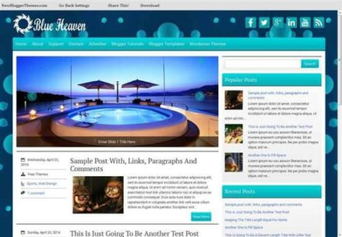 Blueheaven responsive personal blog blogger template