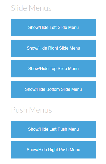 Slide and Push Menus