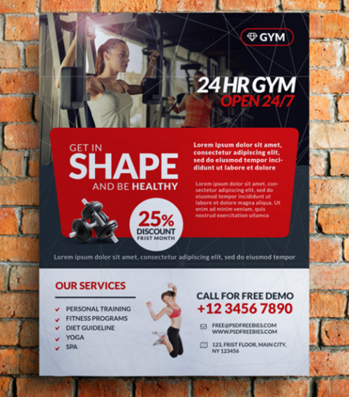 Gym and Fitness Club Flyer Template
