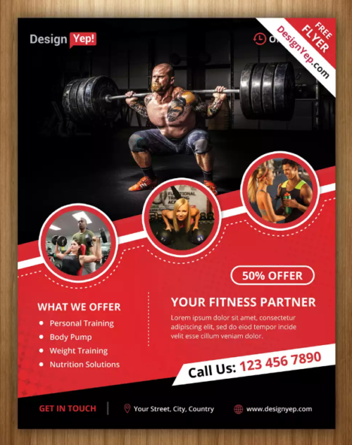 10 free gym bodybuilding flyer poster templates ginva. Black Bedroom Furniture Sets. Home Design Ideas