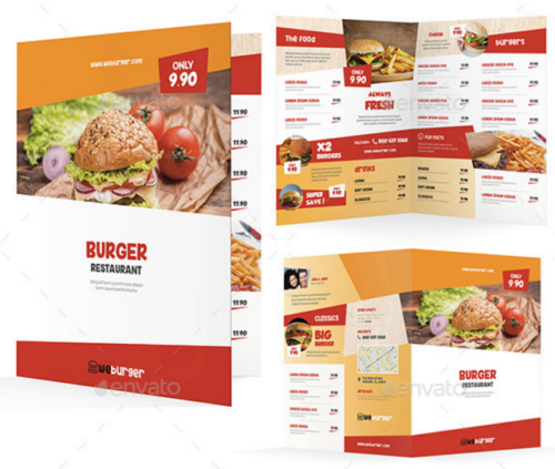 Fast Food Restaurant Menu Print