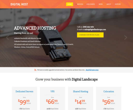 digital hosting web hosting template