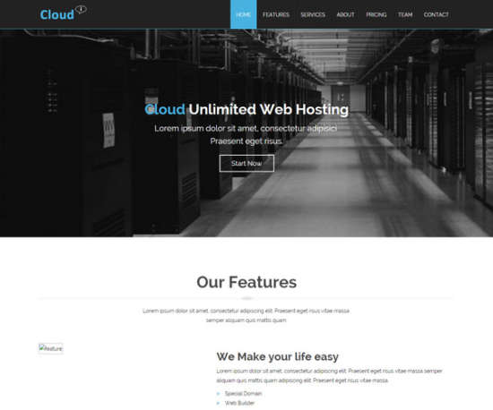 cloud hosting responsive website template