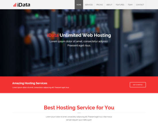 idata hosting responsive website template