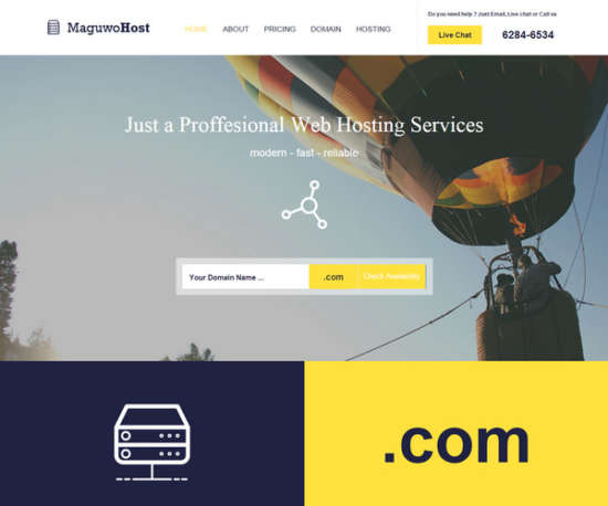 maguwohost a web hosting web template