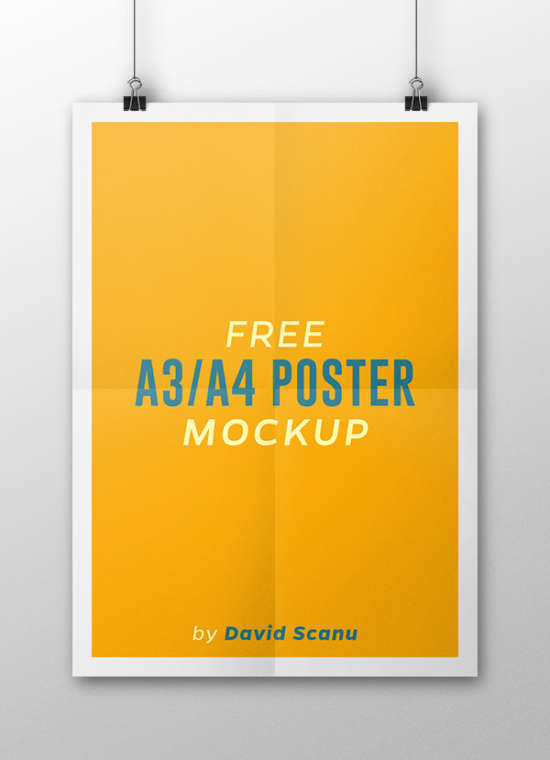 free a3a4 poster mockup psd