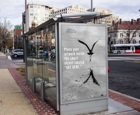 bus stop ad mockup by andrew pons