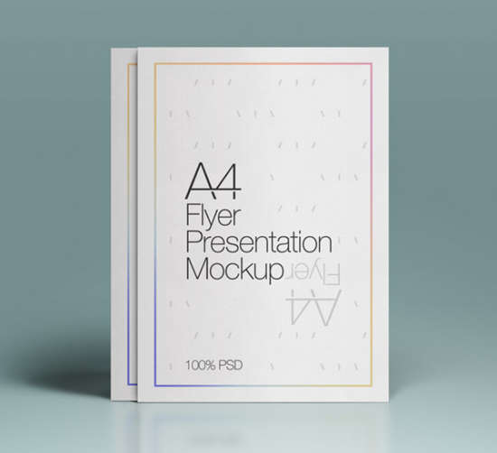 a4 psd flyer mockup by pixeden