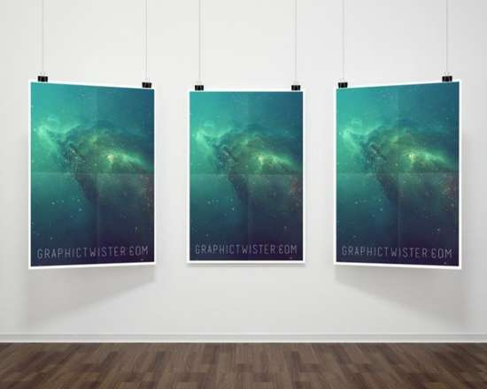 triple hanging poster frame mockup psd