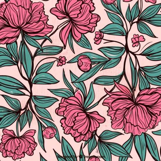 background_of_hand_drawn_flowers_and_leaves