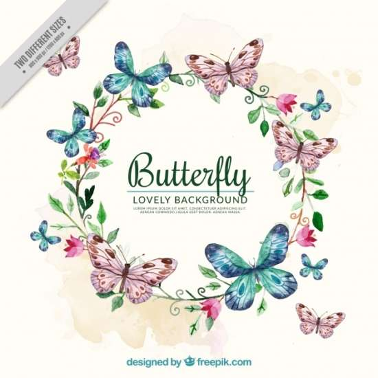 watercolor_background_with_floral_wreath_and_butterflies