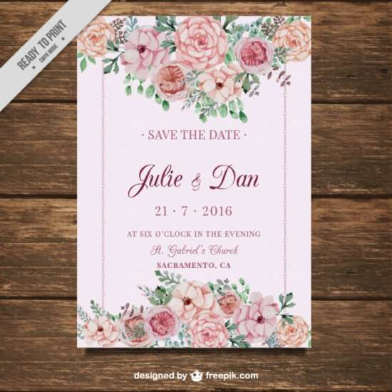 wedding_card_with_flowers_on_a_pink_background