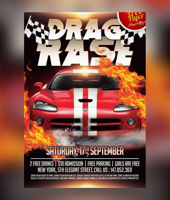 car_race_free_flyer_template