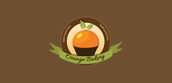 orange_cupcake_bakery_logo_design