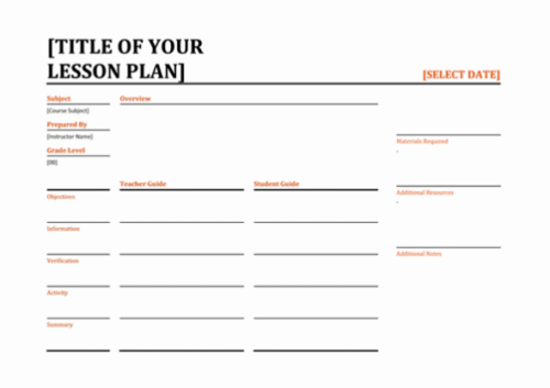Simple Daily lesson planner