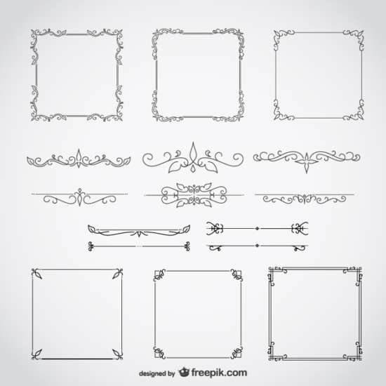 free_calligraphic_frames_decorative_floral_set
