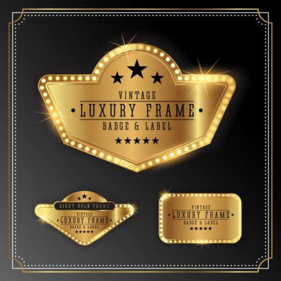 golden_luxury_frame_with_bulb_light_border._golden_shine_label_banner_design