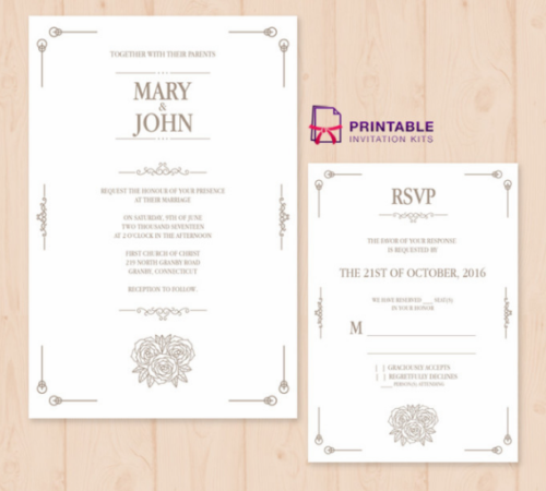 25 free vintage wedding invitation templates ginva simple vintage invitation and rsvp template simplevintageinvitationandrsvptemplate stopboris Choice Image