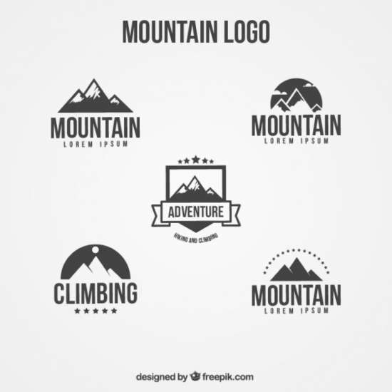 logos_set_of_flat_mountain