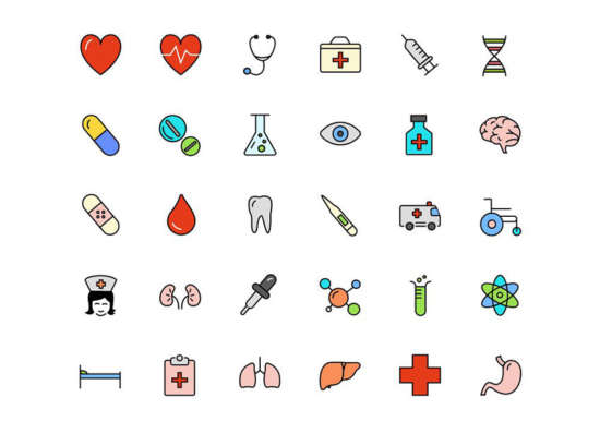 30_free_medical_science_line_color_icons
