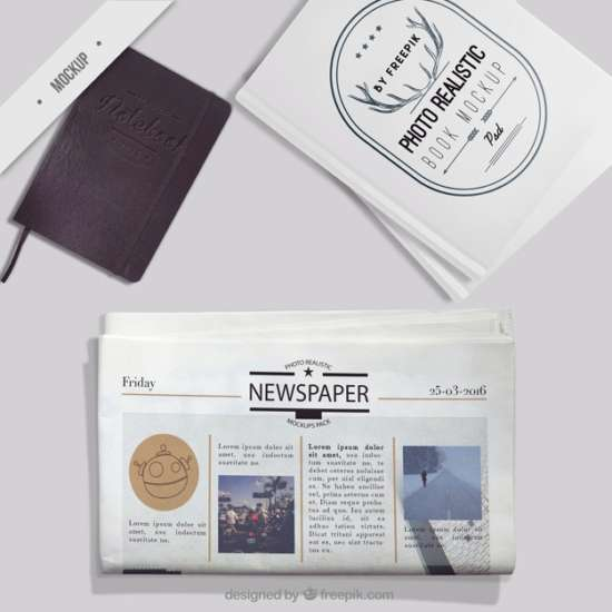 mockup_of_newspaper_with_notebook_and_photo_book