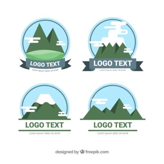pack_of_logos_with_mountains_in_flat_design
