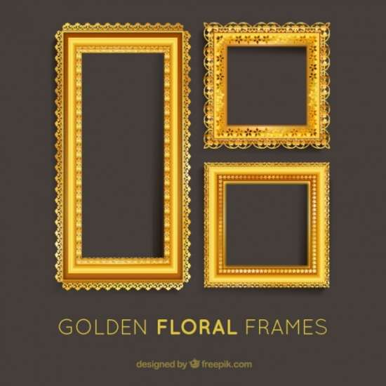 set_of_golden_floral_frames