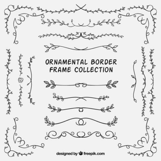 set_of_ornamental_borders_with_leaves
