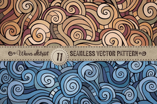 11_seamless_abstract_hand_drawn_waves_and_curls_patterns