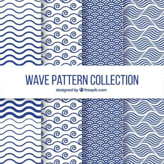 set_of_four_wave_patterns_in_flat_design